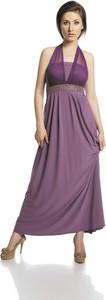 Fioletowa sukienka Fokus maxi rozkloszowana z dekoltem w kształcie litery v