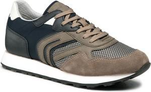 Brązowe buty sportowe Geox sznurowane ze skóry ekologicznej