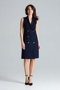 Granatowa sukienka LENITIF bez rękawów z dekoltem w kształcie litery v