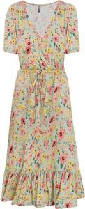 Sukienka bonprix z krótkim rękawem z dekoltem w kształcie litery v midi