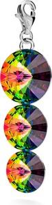 GIORRE SREBRNY CHARMS POTRÓJNY KRYSZTAŁ SWAROVSKI 925 : Kolor kryształu SWAROVSKI - Crystal VM, Kolor pokrycia srebra - Pokrycie Jasnym Rodem