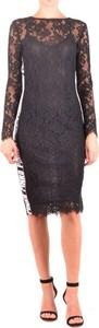 Czarna sukienka Pinko midi z dekoltem w łódkę z długim rękawem