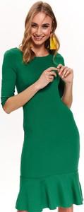 Zielona sukienka Top Secret z dzianiny z okrągłym dekoltem