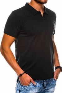 Czarna koszulka polo Ombre z krótkim rękawem