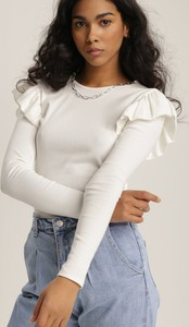 Bluzka Renee z okrągłym dekoltem z długim rękawem w stylu casual