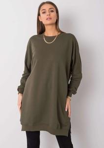 Zielona sukienka Sheandher.pl oversize z okrągłym dekoltem