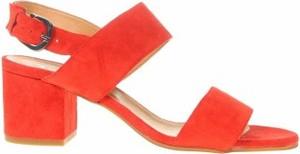 Czerwone sandały Lamica z klamrami na obcasie