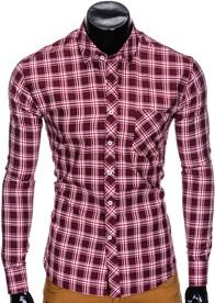 Czerwona koszula Ombre Clothing z długim rękawem w stylu casual z bawełny