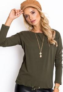 Zielona bluzka Sheandher.pl z długim rękawem z bawełny z okrągłym dekoltem