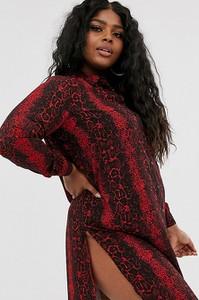 Sukienka Junarose koszulowa ze skóry z długim rękawem