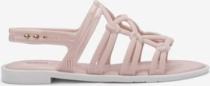Różowe sandały Melissa w stylu casual z płaską podeszwą ze skóry ekologicznej