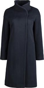 Granatowy płaszcz Lavard w stylu casual z wełny