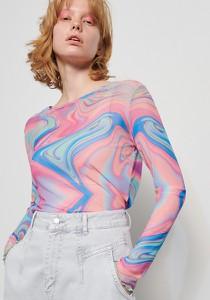 Bluzka Reserved z okrągłym dekoltem z długim rękawem w młodzieżowym stylu