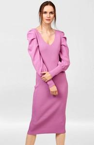 Różowa sukienka ORSAY z dzianiny midi ołówkowa