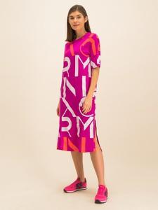 Sukienka Armani Exchange z okrągłym dekoltem midi