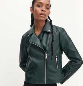 Zielona kurtka Reserved ze skóry krótka