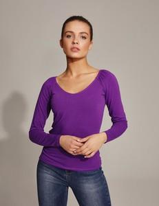 Fioletowa bluzka Diverse w stylu casual z długim rękawem z okrągłym dekoltem