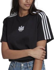Czarny t-shirt Adidas z dzianiny z okrągłym dekoltem w sportowym stylu