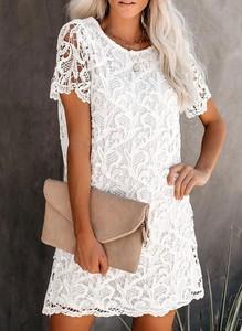 Sukienka Sandbella z okrągłym dekoltem z krótkim rękawem