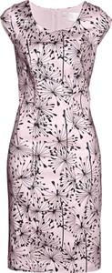 Sukienka bonprix bpc selection midi z dekoltem w karo bez rękawów
