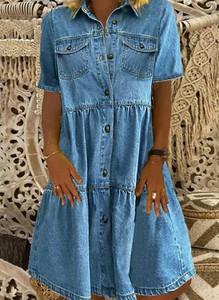 Niebieska sukienka Cikelly z długim rękawem z kołnierzykiem koszulowa