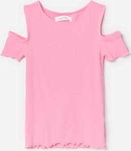 Różowa koszulka dziecięca Reserved z krótkim rękawem z bawełny