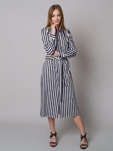 Sukienka Willsoor maxi koszulowa z długim rękawem