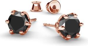GIORRE SREBRNE KOLCZYKI DIAMENT SYNTETYCZNY 6MM 925 : Kolor pokrycia srebra - Pokrycie Różowym 18K Złotem