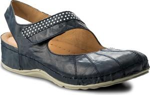 Granatowe sandały dr. brinkmann na koturnie na rzepy