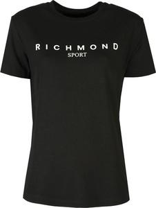 Czarny t-shirt John Richmond z krótkim rękawem z okrągłym dekoltem