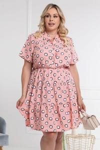 Różowa sukienka KARKO mini trapezowa z tkaniny