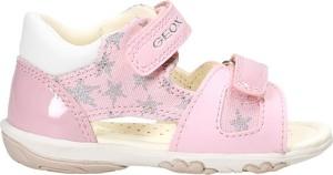 Różowe buty dziecięce letnie Geox ze skóry na rzepy dla dziewczynek