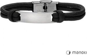 Manoki BA702B czarna bransoletka męska z blaszką pod grawer