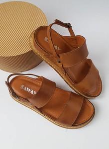 Brązowe sandały Saway z płaską podeszwą z klamrami