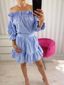 Niebieska sukienka zooe.pl z długim rękawem hiszpanka z bawełny