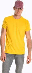 Żółty t-shirt Gate z bawełny z krótkim rękawem