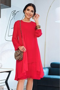 Czerwona sukienka Semper z długim rękawem z okrągłym dekoltem