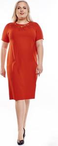 Sukienka Fokus z tkaniny ołówkowa z krótkim rękawem