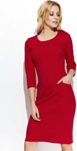 Czerwona sukienka Makadamia z długim rękawem w stylu casual