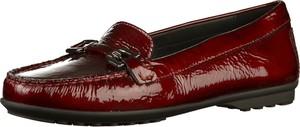 Czerwone półbuty Geox w stylu casual ze skóry