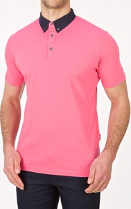 Różowa koszulka polo Lanieri z krótkim rękawem