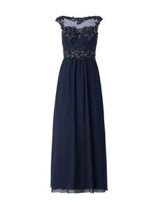 Niebieska sukienka Niente z szyfonu w stylu glamour maxi