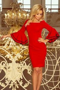 Czerwona sukienka NUMOCO z dekoltem w karo z długim rękawem mini