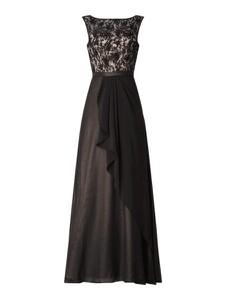 Czarna sukienka Niente rozkloszowana z okrągłym dekoltem maxi