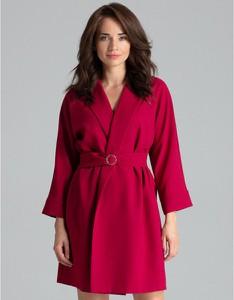 Czerwona sukienka LENITIF z dekoltem w kształcie litery v z długim rękawem