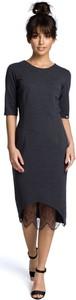 Sukienka BeWear z krótkim rękawem z okrągłym dekoltem midi