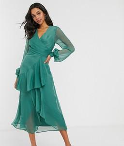 Zielona sukienka Asos z dekoltem w kształcie litery v