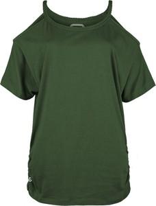 Zielony t-shirt Emp z okrągłym dekoltem z krótkim rękawem