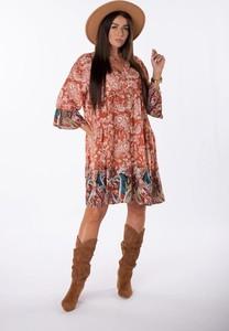 Sukienka Ptakmoda.com trapezowa z dekoltem w kształcie litery v z długim rękawem