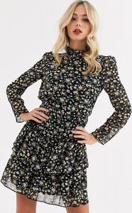 Sukienka Asos Design z golfem mini z długim rękawem